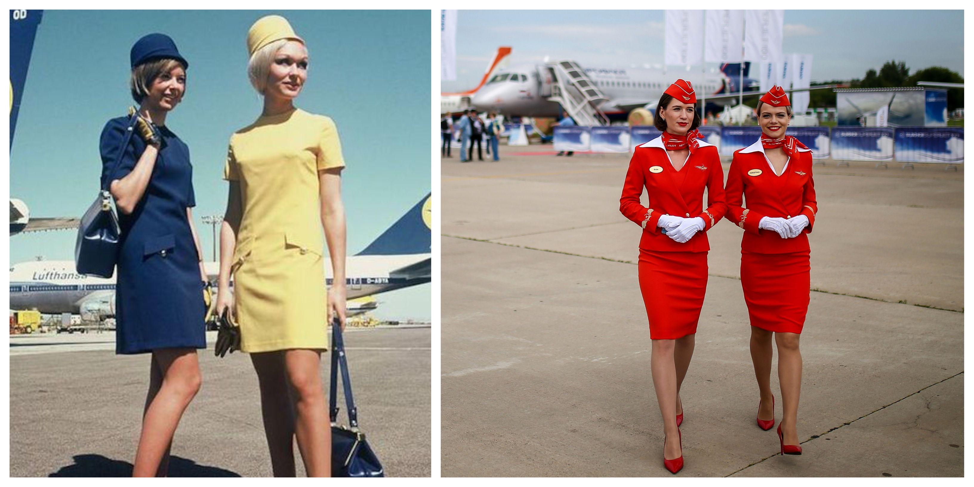 RED RETRO FLIGHT ATTENDANT STEWARDESS UNIFORM DRESS UP 60S 70S AIRLINE COSTUME